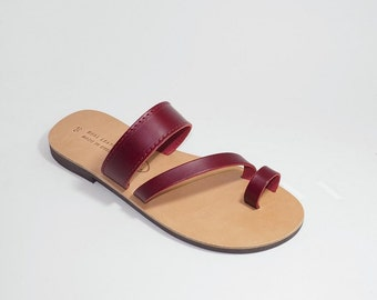 Greek Leather Sandals (39 - Black)