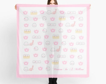 """Dimsum Scarf - """"Shrimp Dumplings"""" [Pink Scarf, Square Scarf, Mother's Day, Scarf Gift, Printed Scarf, Silk Scarf, Hermes Scarf, Head Scarf]"""