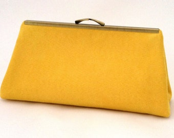 Gorgeous Yellow Suede Handbag ~ Yellow Travel Purse ~ Yellow Clutch