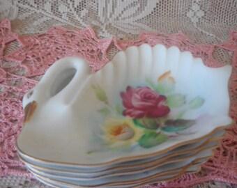 Swan Shaped Tea Bag Holders / Spoon Rest Vintage Set of Six