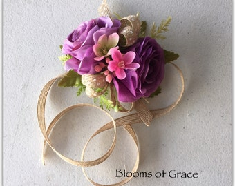 Wrist corsage, purple, prom, wedding, silk corsage.