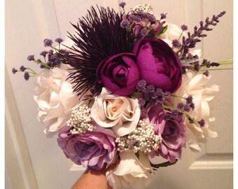 Purple pearl bridal bouquet