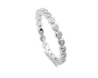 Eternity ring. Sterling silver eternity ring. Band ring. Cz band ring. 1.5mm band ring. Wedding ring. Engagement ring. Wedding band ring.