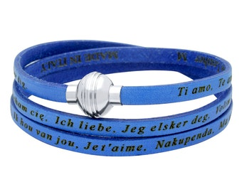 "Blue authentic leather wrap bracelet with the phrase ""I love you"" in 22 languages. Leather wrap around bracelet, i love you, te amo."