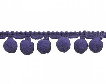 """Pom Pom Trim by the Yard - 1"""" - Purple - Decorative trim for pillows and clothing - Large"""