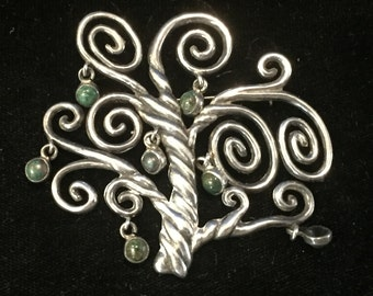 Vintage Sterling Silver Los Castillo Taxco Tree of Life Pin