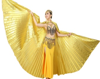 Deluxe Handmade Belly Dance Halloween Costume IsIs wings Polyester Wings with Free sticks & Bag
