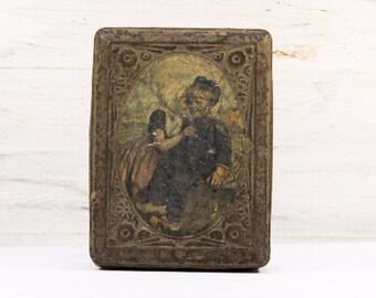 Beautiful Shabby Chic Old French Tin Box