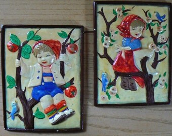 Antique Wall Plaques, Vintage Plaster / Chalkware Boy and Girl Wall Plaques, Old Fashioned Wall Decor, Chalkware Wall Decor