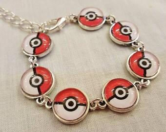 Pokemon, Pokeball, handmade bracelet