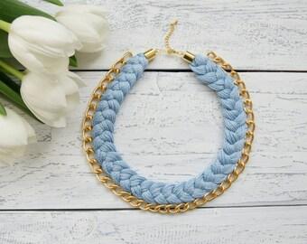 Statement Necklace Chain Necklace Bib Necklace 'Sky Blue'