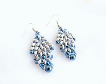 Silver superduo and blue pearl earrings