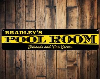 Pool Room Sign, Personalized Billiards & Fine Brews Sign, Custom Name Man Cave Sign, Metal Man Cave Decor - Quality Aluminum ENS1001408