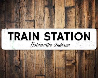 Train Station Sign, Gift for Train Lover, Train Station Decor, Custom Railroad Sign, Metal Train Enthusiast Gift-Quality Aluminum ENS1001508