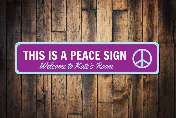 Peace Sign Bedroom Accessories: Peace Sign Custom Welcome Kid Name Room Sign Personalized