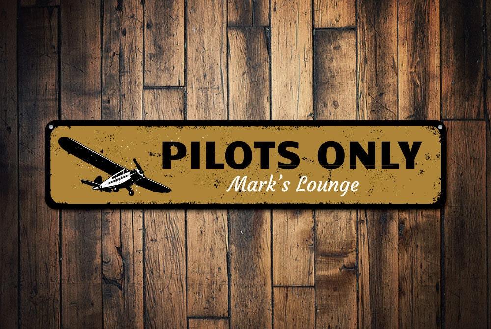 pilots only sign pilot gift hangar lounge decor metal airplane sign custom - Aviation Decor