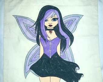 Gothic fairy tote bag. Hand drawn and painted tote bag, painted gothic fairy shopping bag.
