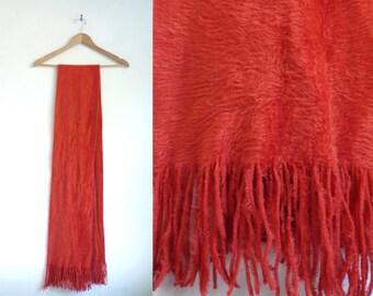 fuzzy scarf, acrylic scarf, fringe scarf, burnt orange scarf, long scarf, fall scarf, winter scarf, soft scarf