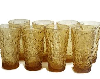 Vintage ANCHOR HOCKING GLASSES, Set of 8 Retro Glasses, Bumpy vintage Glasses, Lido Glasses, Amber Glasses, Retro Drinking Glasses, Set of 8