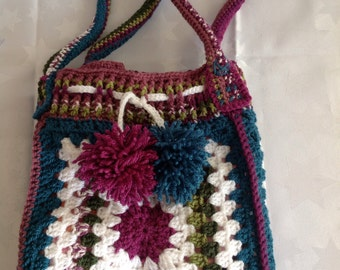 Handmade crochet lined granny stash bag