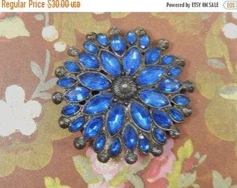Vintage Blue Navette Rhinestone and Metal Bead Flower Dress Clip