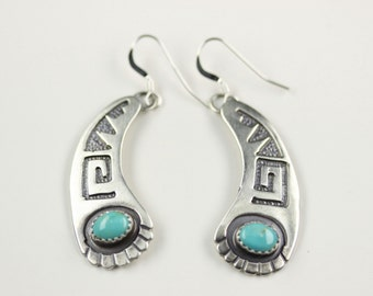 Navajo .925 Sterling Silver Turquoise French Hook Earrings By Charlie Yazzie
