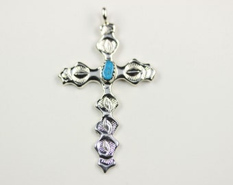 Native American Navajo Sterling Silver Turquoise Cross Pendant By Evelyn Joe