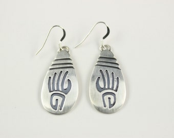 Navajo .925 Sterling Silver French Hook Earrings By Charley Yazzie