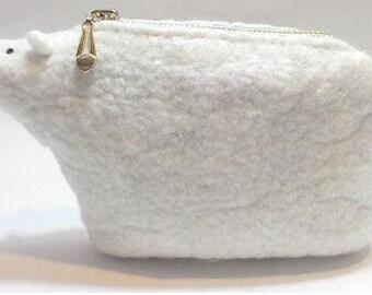 Handmade Felted Wool White Polar Bear Handbag / Coin Purse - Miaomicat Series
