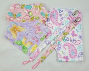 Butterfly Baby Bundle, Bibdana Bundle, Burp Cloth Bundle, Pacifier Clip Bundle, Baby Girl Bundle, Baby Shower Bundle, Baby Shower Gift