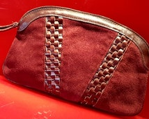 80s Burgundy Suede and Vinyl Woven Maroon Wristlet Clutch Purse