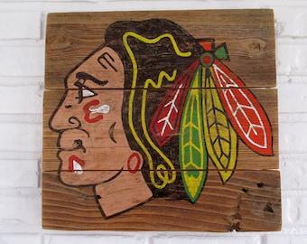Chicago Blackhawks Hockey Sign