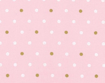 Girls Pink and Gold and White Polka Dot Fitted Crib Sheet