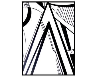 ACEO ATC original art card minimalist drawing black and white - Summit ATC by Caerys Walsh