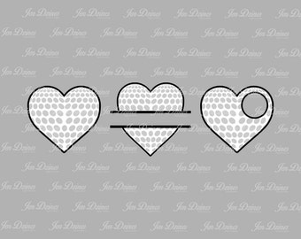 Golf heart SVG DXF EPS, split golf svg, golf file, golf monogram, golf svg,golf love files, files for Cricut, Sihouette files, svg files