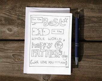 Printable Father's day card - to the best dad in the world - colouring in