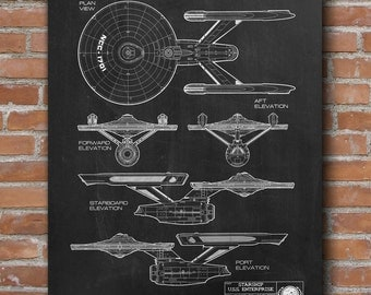 Star Trek Patent Print, Star Trek Starship, Space Poster, Star Trek Wall Decor, Star Trek Blueprint, Patent Poster - DA0689
