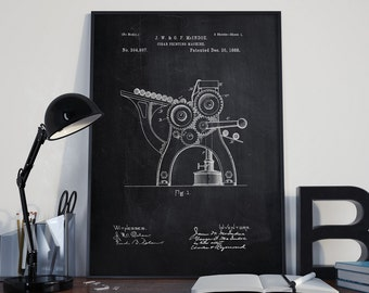 Cigar Printing Machine Patent, Cigar Printing Poster, Wall Art Patent, Home Decor, Print Machine, Technology, Patent Poster - DA0047
