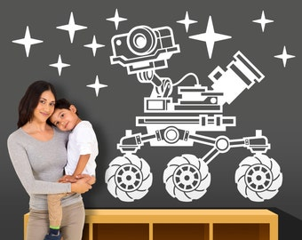 Space Mars Rover Vinyl Wall Decal - Boy Girl Bedroom, Nursery, Playroom Wall Decal - NASA Wall Decal - Outer Space Wall Decal - Rocket Decal