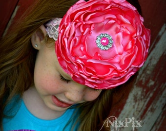 Girls Bubblegum Pink Singed Flower Headband