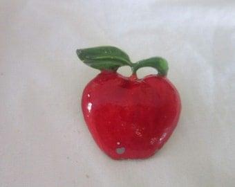 Vintage Enameled Teachers Pet Apple Brooch