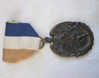 Antique Bronze Medal & Ribbon Pinback Marching Band
