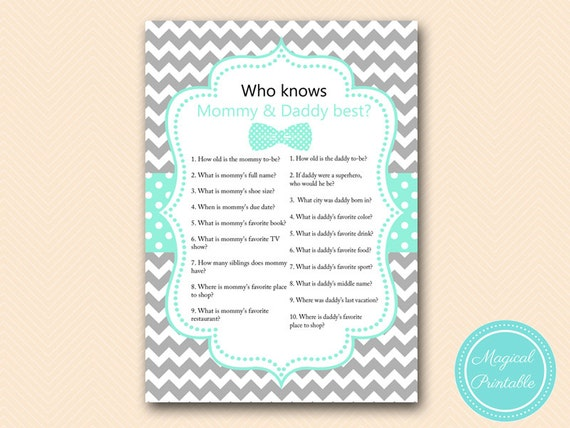 Who knows mommy and daddy best Game Printable coed Baby