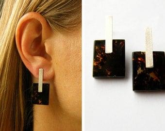 Earrings, genuine Amber earrings, black, polished Stone, matte sterling Silver 925, Gift for she,giftbox, modern design NEW,UNIQUE- Handmade