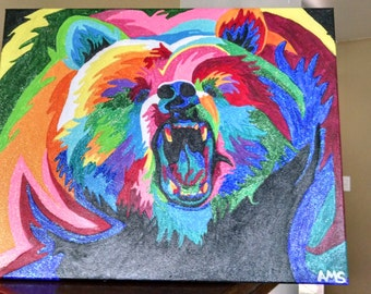 Colorful bear painting
