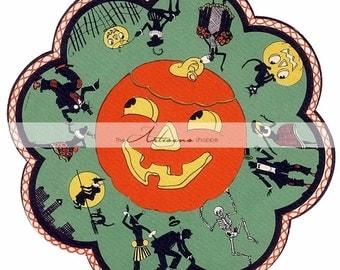 Instant Art Printable Download - Vintage Halloween Decor Wheel Art Image - Paper Crafts Altered Art Scrapbooking - Jack O'lantern Decoration
