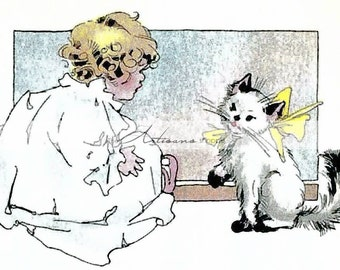 Instant Download Printable Art Illustration Little Girl with Kitten - Paper Crafts Altered Art - Instant Art - Antique Illustration Children