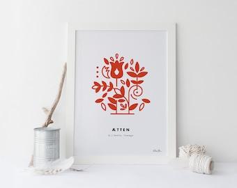 "8x10 ""Atten"" (Family, Lineage) Nordic Word Print, red and white, Norwegian Scandinavian folk art illustration"