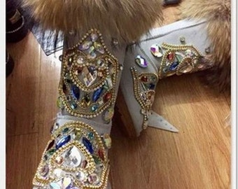 Bohemian Sparkle Boots/Leather Sheepskin Fleech/Wool Boots Boho Luxury totem shinning and stylish crystal Fox Fur Beige/Black Women Boots