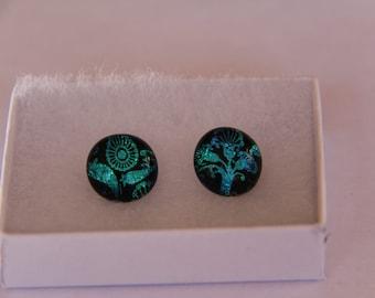 Green flower dichroic stud earrings, fused glass earrings, green dichroic,  stud earrings, green dichroic, pierced earrings, glass jewelry